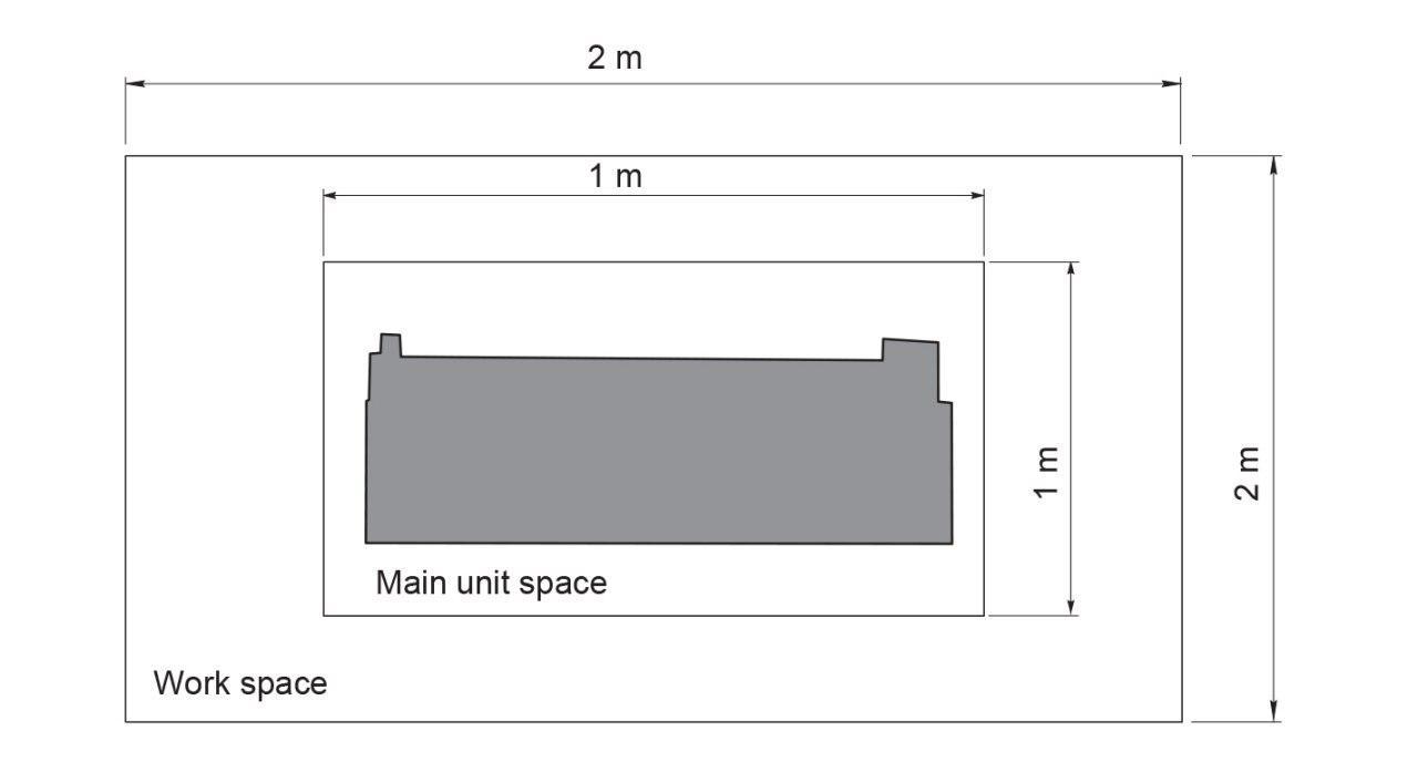 فضای مورد نیاز برای قرارگیری کاتر پلاتر رولند مدل Gs24