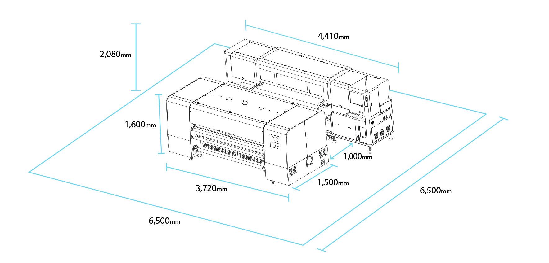 ابعاد دستگاه چاپ پارچه
